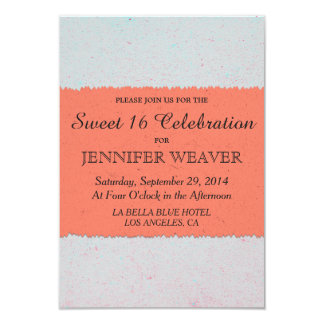Coral Peach and Slate Grey Edgy Pattern 9 Cm X 13 Cm Invitation Card