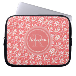 Coral Peach Damask Pattern | Monogram Name Initial Laptop Computer Sleeves