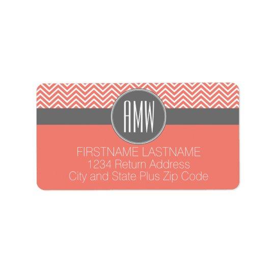 Coral Peach Grey Chevrons Custom Triple Monogram Address Label
