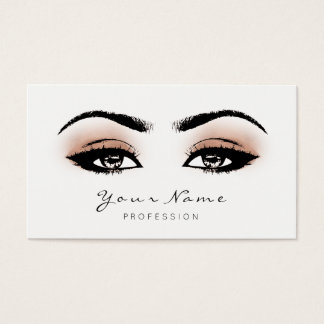 Coral Peach Makeup Lashes Extension Black White Business Card