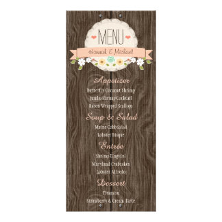 Coral Peach Rustic Floral Wedding Menu Card Personalized Rack Card