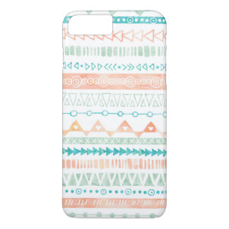 Coral Peach Teal Mint Watercolor Tribal Pattern iPhone 7 Plus Case