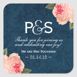 Coral Peonie and Navy Favor Stickers