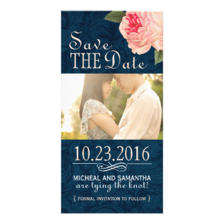 Coral Peonie and Navy Save the Date Photo Cards