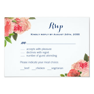 Coral Peonie on Navy RSVP Cards 9 Cm X 13 Cm Invitation Card