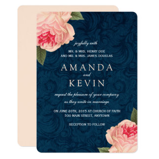 Coral Peonies and Navy Wedding Invitations