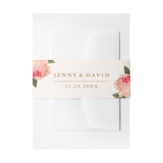Coral Peonies Belly Bands Invitation Belly Band