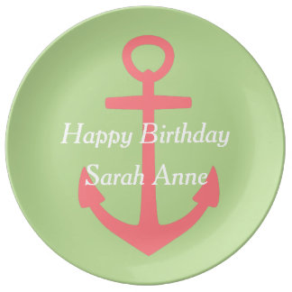 Coral Pink Anchor on Mint Green Happy Birthday Porcelain Plates