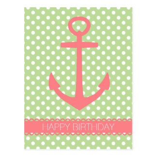 Coral Pink Anchor on Mint Green Polka Dot Postcard
