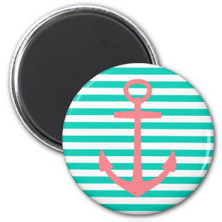 Coral Pink Anchor on Turquoise and White Stripes Magnet
