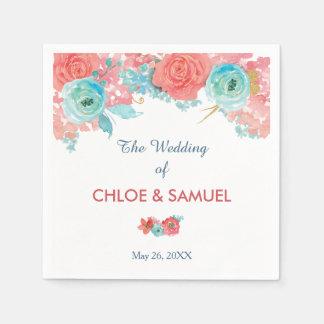 Coral Pink and Aqua Floral Wedding Paper Serviettes