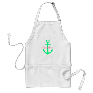 Coral Pink and Caribbean Green Anchor Personalized Standard Apron