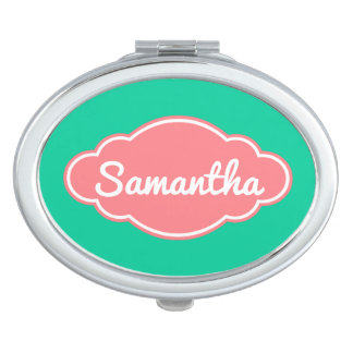 Coral Pink and Caribbean Green Personalized Travel Mirror