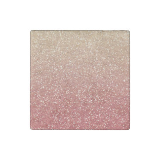 Coral Pink and Gold Faux Glitter Stone Magnet