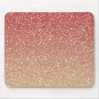 Coral Pink and Gold Faux Glitter Mouse Pad