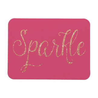 Coral Pink and Gold Faux Glitter Sparkle Vinyl Magnets
