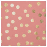 Coral Pink and Gold Glitter City Dots Fabric