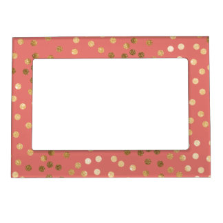 Coral Pink and Gold Glitter Dots Magnetic Frame