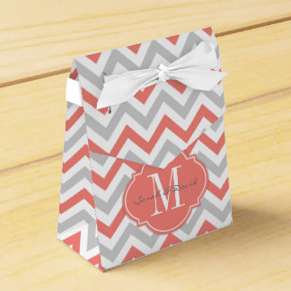 Coral Pink and Gray Chevron Pattern with Monogram Party Favour Boxes