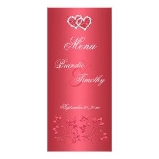 Coral Pink and Gray Floral Hearts Menu Card
