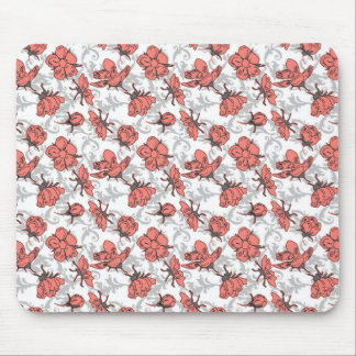 Coral Pink and Gray Vintage Floral Pattern Mousepad