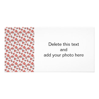 Coral Pink and Gray Vintage Floral Pattern Customised Photo Card