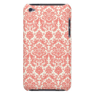 Coral Pink and Ivory Elegant Damask Pattern Barely There iPod Covers