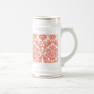 Coral Pink and Ivory Elegant Damask Pattern Beer Steins