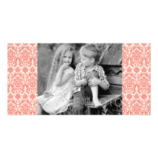 Coral Pink and Ivory Elegant Damask Pattern Customised Photo Card