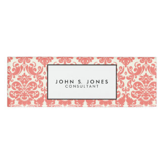 Coral Pink and Ivory Elegant Damask Pattern Name Tag