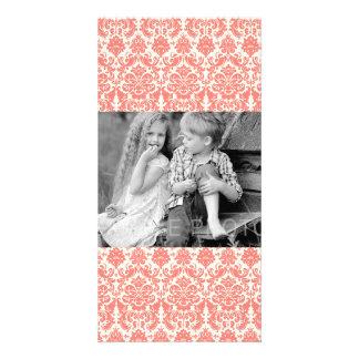 Coral Pink and Ivory Elegant Damask Pattern Photo Greeting Card
