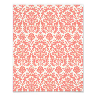 Coral Pink and Ivory Elegant Damask Pattern Photo Print