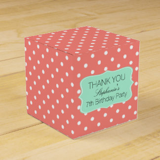 Coral Pink and Mint Green Polka Dot Birthday Party Favour Box