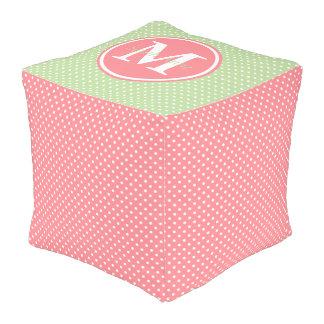 Coral Pink and Mint Green Polka Dot Monogram Pouf