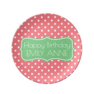 Coral Pink and Sea Green Polka Dot Personalized Porcelain Plate