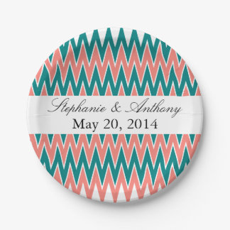Coral Pink and Teal Zigzag  Wedding 7 Inch Paper Plate