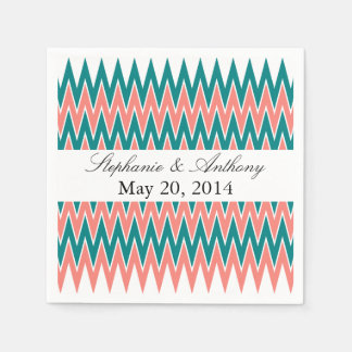 Coral Pink and Teal Zigzag  Wedding Disposable Serviettes