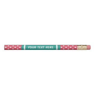 Coral pink and turquoise pencils with custom name