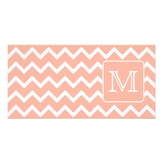 Coral Pink and White Chevron with Custom Monogram. Personalised Photo Card