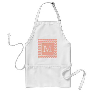 Coral Pink and White Chevron with Custom Monogram. Standard Apron