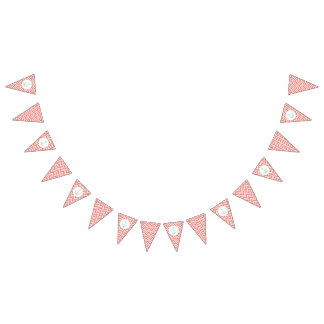 Coral Pink and White Chevron with Mint Nautical Bunting