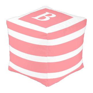 Coral Pink and White Stripe Monogram Pouf