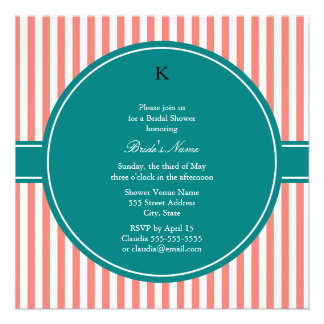 Coral Pink and White Stripes Teal Bridal Shower Invites