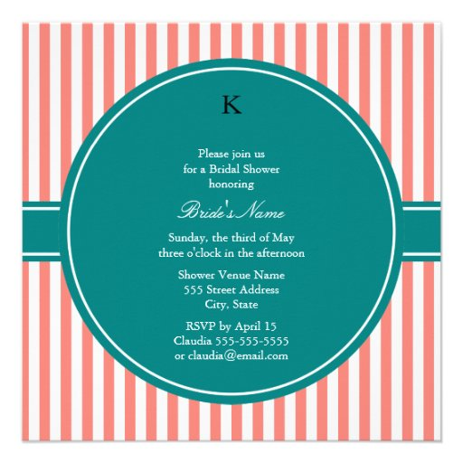 Coral Pink and White Stripes , Teal Bridal Shower Invites