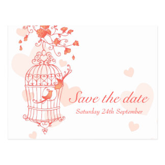 Coral pink bird cage wedding save the date card postcard