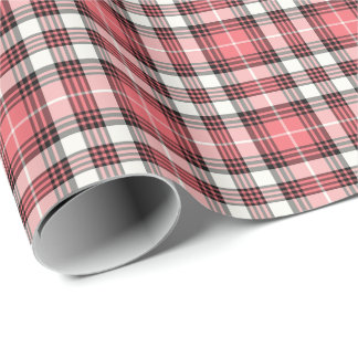 Coral Pink, Black and White Girly Plaid Pattern Wrapping Paper