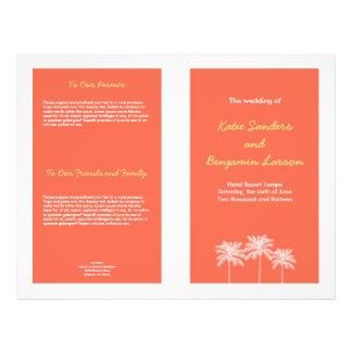 Coral pink block palm trees summer wedding program flyer