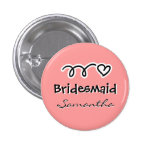 Coral pink bridesmaid buttons   personalized name