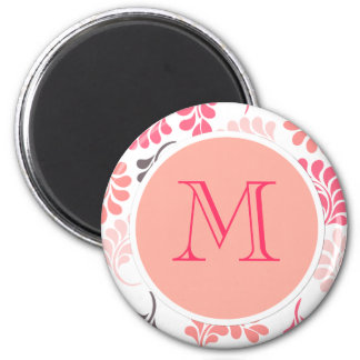 Coral Pink Brown Floral Pattern 6 Cm Round Magnet