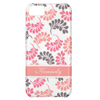 Coral Pink Brown Floral Pattern iPhone 5C Case